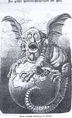 Die Wiener Bildzeitung Kikeriki stellt den Juden als weltaussaugenden Vampir dar.