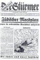 Julius Streichers beruechtigte Zeitung Der Stuermer mit der Ritualmordnummer.